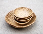 Ceramic Bowls set of five in golden brown handmade pottery