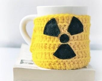 Radioactive  funny coffee mug cozy yellow black crochet handmade cover