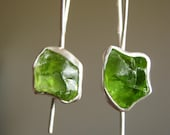 Custom Dangle Rough Peridot Earrings - Sterling Silver and fine silver