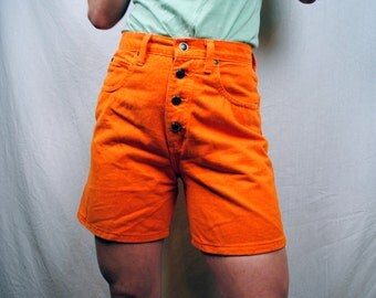 Vintage 80s 90s Zena Orange Denim Shorts