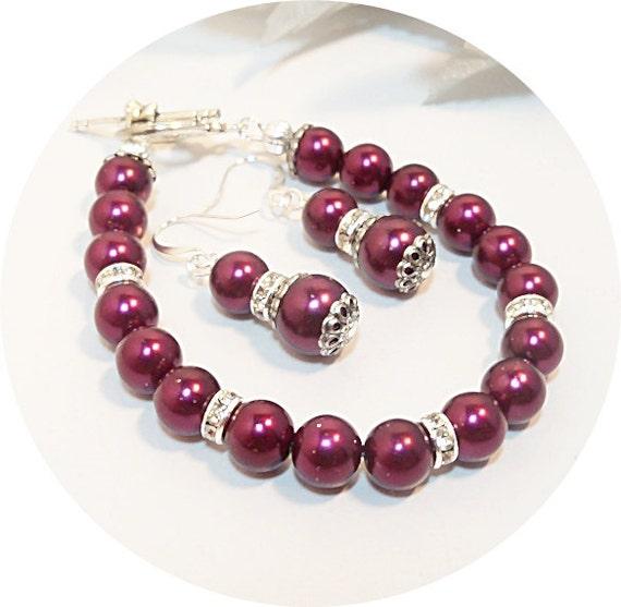 burgundy bracelet earrings bridal accessories bridesmaid