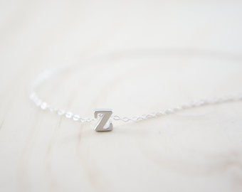 "Silver Letter, Alphabet, Initial  ""z"" necklace, birthday gift, lucky charm, layered necklace, trendy"