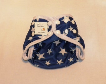 Preemie Newborn PUL Diaper Cover with Leg Gussets- 4 to 9 pounds- Stars- 20018
