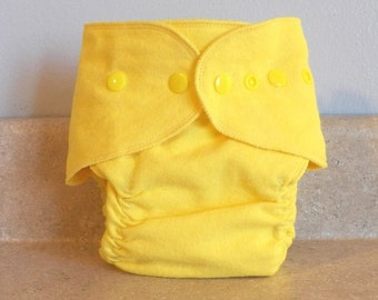 Fitted Preemie Newborn Cloth Diaper- 4 to 9 pounds- Bright Yellow