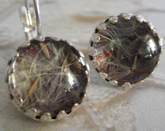 Dandelion Seeds Beneath Glass Atop Burgundy Crown Bezel Leverback Earrings-Gifts Under 30-Ride The Wind-Nature's Art-Symbolizes Happiness