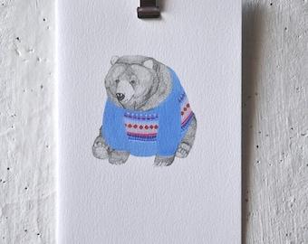 Bear wearing Blue Jumper Greeting Card