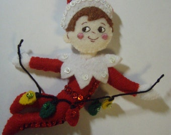 Bucilla Felt Elf  with lights from the Elf On The Self  Collection