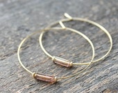 Large Gold Hoops with Beads, Gold Hoop Earrings, Brown Glass Beads