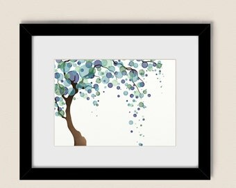 Blue Green And Purple Circle Tree Wall Art 5 x 7 Living Room Tree Print, Nature Wall Art Home Decor  (105)