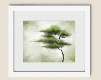 8 x 10 Tree Wall Art Nature Print, Green Wall Decor for Home or Office, Modern Living Room Art (297)
