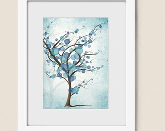 5 x 7 Turquoise Blue Tree Wall Art, Nature Home Decor, Bathroom Art Print, Peaceful Decor for Walls (173)