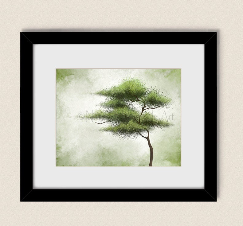 Wind blowing green tree wall art 11 x 14 print for living room for Living room 11 x 14