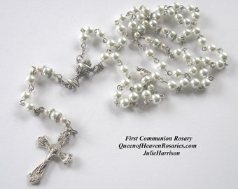 Glass Pearls First Communion Rosary