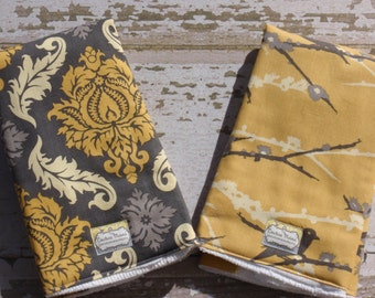 Ready to Ship-The Couture Mama Cloth Diaper Burp Cloths- Set of Two in Joel Dewberry, Gray and Yellow