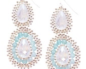 Hand Woven Silver, Chalcedony and Crystal Medallion Earrings