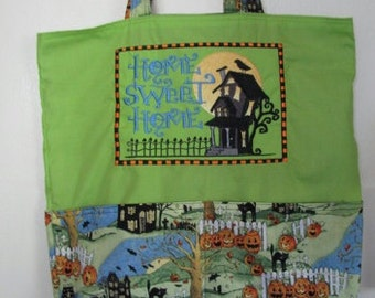 Home Sweet Home Halloween Tote or Eco Friendly Purse Grocery or Shopping Bag