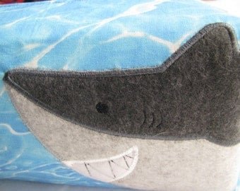 Beach Shark Bag with Shark appliqué embroidery- Cosmetic Bag Makeup Bag LARGE