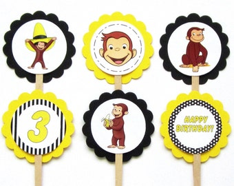 Curious George Cupcake Toppers .  Curious George Birthday Toppers . Curious George Birthday Party . Set of 12 . Customized