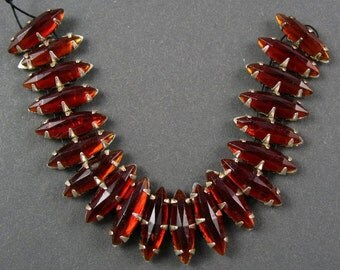 Vintage Rose Montee Navettes -  Red Glass