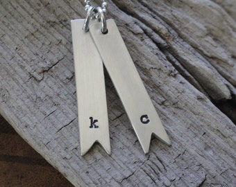 Sterling silver initial pennant necklace-personalized jewelry-mother's necklace
