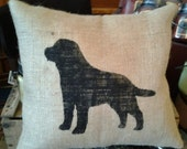 LABRADOR Lined Burlap accent pillow OFG Team 12x12 Custom orders welcome Can make bigger or smaller, other colors