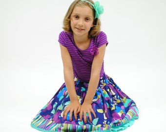 Flower Garden Skirt, Petticoat, Back to School Clothes, Girl Skirts, Toddler skirt, Purple, Blue, Sizes 2T, 3, 4, 5, 6, 7, 8