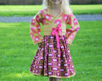 Purple and Pink Kimono Dress for Girls, Girls Clothing, Kimono, Toddler dress, Girl Dresses, pink dress, purple, size 2T 3 4 5 6 7 8