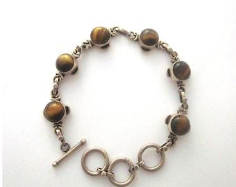 Sterling Silver Tigers Eye Vintage Bracelet Brown Gemstone Jewelry