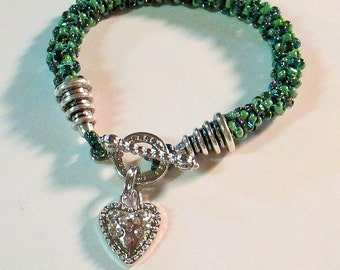 CLEARANCE PRICED - Turquoise, Green, and Teal Spiral Beaded Charm Bracelet 8 inch