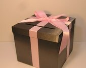 Dark Grey and light Pink/baby pink Wedding Card Box Gift Card Box Money Box Holder--Customize your color (10x10x9)