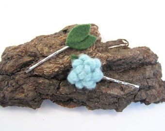 Light Blue Felted Wool Flower and Leaf Bobby Pin Set