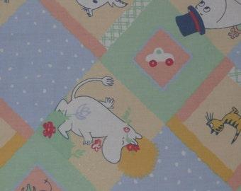 SALE really cute vintage moomin fabric, yellow, green, blue white polka dots cotton tillukka