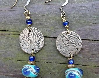 Bronze Disc Earrings - Handmade Bronze Discs, Teal Lampwork Beads, Cobalt Glass Beads, Dangle Earrings
