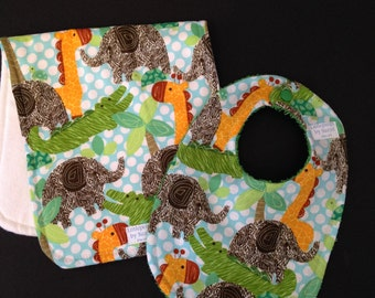 Jungle fever! baby boy bib and burp set/ elephants,alligators,...