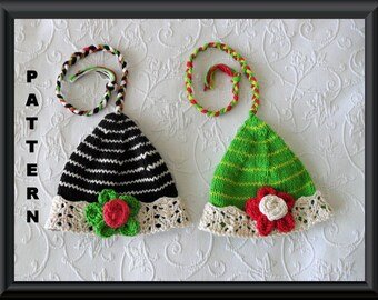 Knitted Hat Pattern Baby Hat Pattern Instant Download Hat Pattern Baby Christmas Elf Hat Knitting Pattern Pixie Jester: ELF LACE BRIM