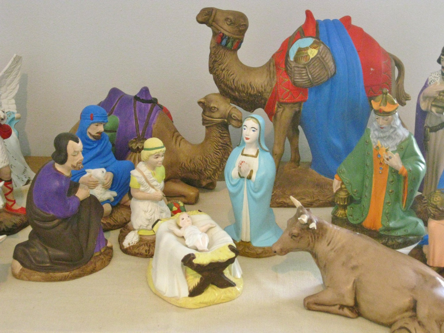Vintage large ceramic nativity set figurines by maggiemaevintage