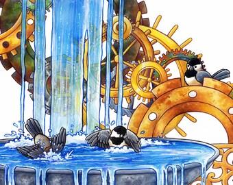 Clockwork Birdbath | Bird Art | Steampunk Art | Animal Art Print | 8x10