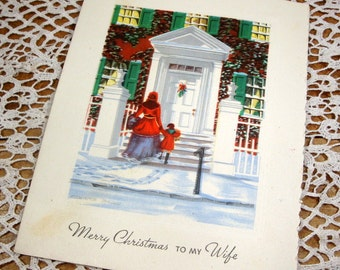 Vintage Christmas Card, Merry Christmas To Wife, Snowy Victorian Scene, Mid Century Greeting  (413-15)