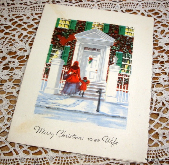 Vintage Christmas Card Merry Christmas To Wife Snowy