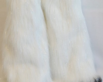 White Sparkle Leg Warmers / Fluffies / Boot Covers - Cosplay / Furry / Animal / Rave