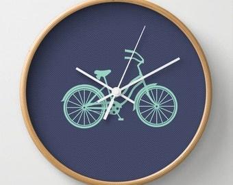 Mint Beach Cruiser Wall Clock 10 inch Diameter Navy Polka dot