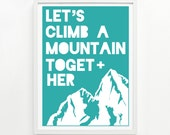 Mountain Poster 9 x 12, Handprinted - Pick Your Color
