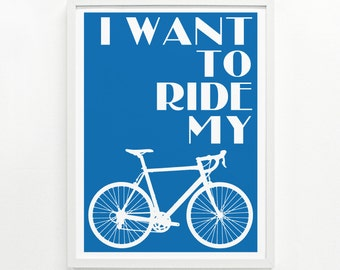 Bike Print – Hand Printed, 12 x 16 - Pick Your Color