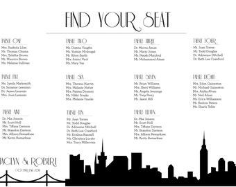 NYC Seating Chart New York Digital Design Printable PDF Custom Personal Poster Print File ONLY