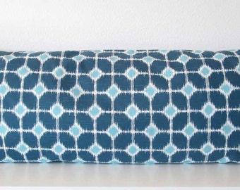 Pillow Cover - Sofie - Blue - Ikat Diamonds - 20x54 - body pillow case