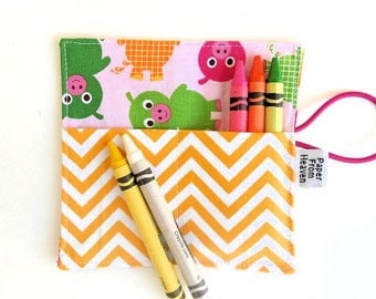 Mini Crayon Roll Up - Pigs in Bright - holds 8 - 10 crayons - Animal crayon holder, pink and yellow party favor, piggy birthday gift