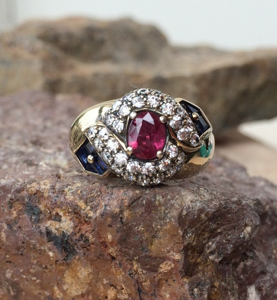 Art Deco Ruby Sapphire and CZ sterling silver ring
