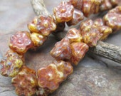 Emberglow Picasso Button Style Czech Glass Beads,  Dream Girl Beads