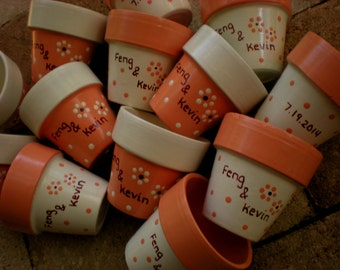 Small Flower Pots - Hand Painted - Wedding and Bridal - Event Favors - Set of 50