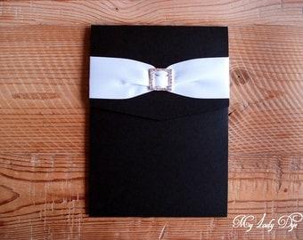 100 Vintage Modern Damask Crystal & Ribbon Embellished Pocket Wedding Invitations - The Jenley Collection - By My Lady Dye